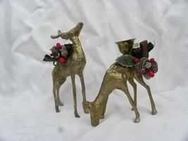 Pair of Vintage Brass Christmas Buck and Doe Deer Candleholders - $7.99