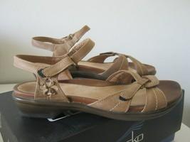 Dansko Caroline Oily Nubuck Stone Tan Leather Sandals W/ Straps W/Box US... - $34.99