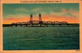 LINEN POSTCARD- JAMES RIVER BRIDGE, NEWPORT NEWS, VIRGINIA   BK24 - $3.47