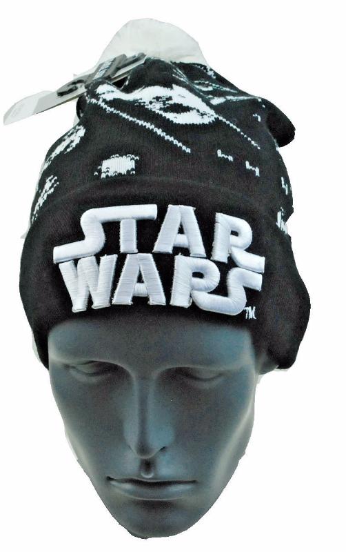 Star Wars Black/White Knit Pom Pom Winter Hat/Beanie/Toque Fighter Pilot