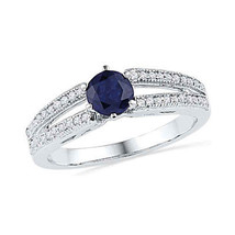 10k White Gold Round Lab-Created Blue Sapphire Solitaire Split-shank Rin... - £150.11 GBP