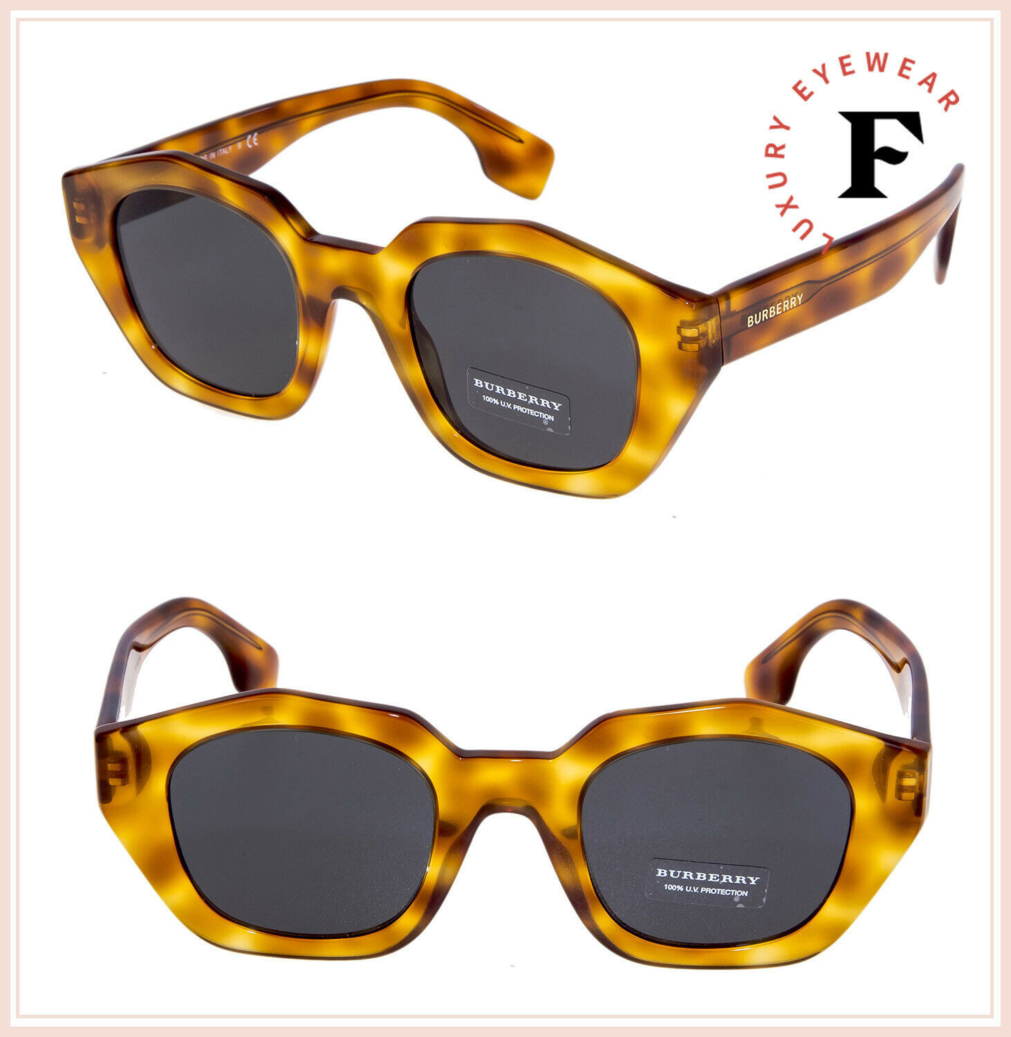 BURBERRY 4288 Vintage Blonde Havana Geometric Sunglasses BE4288S Authentic