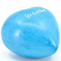 """Vaneal Group Hand Carved Soapstone 2-Sided """"Breathe"""" Sky Blue Heart Paperweight image 4"""