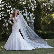 Lace Appliqued Long Sleeved Customized V Neck Zip Chain Back Mermaid Bridal Gown image 3