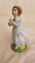 Vintage 1982 Avon Girl Blowing Flower Figurine Porcelain Hand Painted - $2.48