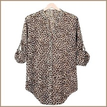 Sheer Chiffon Plus Size Leopard Top Long Sleeve Roll Up Cuff Button Down Shirt image 3