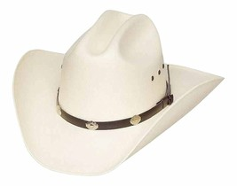 Classic Cattleman Straw Cowboy Hat with Silver Conchos - White - 7 22 1 . 22927e314702