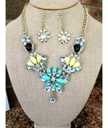 BLING!! BLING!! NEW NECKLACE OF LARGE AND SMALL RHINESTONE CRYSTALS YELL... - $15.83