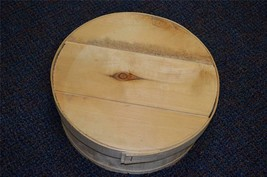 """VINTAGE 15"""" DUFECK'S ROUND WOODEN CHEESE BOX WITH LID - MARKED ON BOTTOM - $19.99"""
