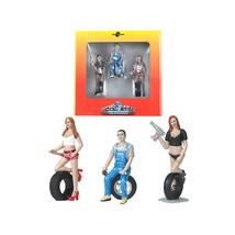 Andie, Derek and Michele Tire Brigade 3 piece Figurine Set 1/24 by Motor... - $38.64