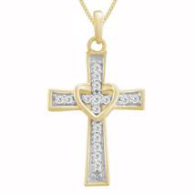 "0.26 Ct Diamond Religious Cross Heart Pendant With 18"" Chain 14K White G... - $92.99"