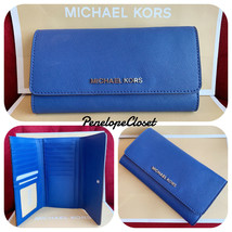 NWT MICHAEL KORS JET SET TRAVEL SAFFIANO LEATHER LARGE TRIFOLD WALLET SA... - $52.88