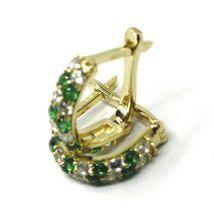 18K YELLOW GOLD MINI 10mm CIRCLE HOOPS EARRINGS, GREEN & WHITE CUBIC ZIRCONIA image 4
