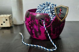 Wooden Yarn Bowl Pink Antique Ball Thread Bowl Knitted Crochet Wool Stor... - $44.54