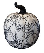 "Allstate 15"" Spooky Black Spider Web Lace Covered Halloween Pumpkin Tabl... - £56.51 GBP"
