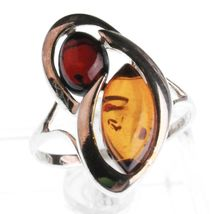 Sterling Silver 925 Multi-Color Dark & Light Brown Oval Baltic Amber Ring Size 8 image 3