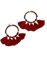 """Tassel Gold Tone Drop Crystal Hoop Earrings Red silk Statement 3"""" - $13.98"""