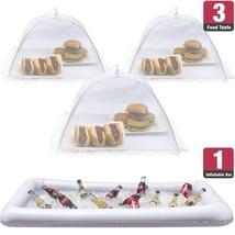 Inflatable Serving Bar Food Umbrella Mesh Cover Screen Tent Set Food Bev... - $32.02