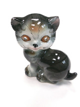 Vintage Cat Figurine Gray Tiger Striped Rhinestone Jewel Eyes Ceramic MC... - $12.00