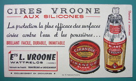 VROONE Silicone Polishes - c 1960 Ink Blotter Advertisement - $4.49