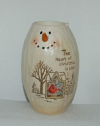 Bright Ideas HF086 Snowman Tea Light Holder The Heart of Christmas  Love Cardina