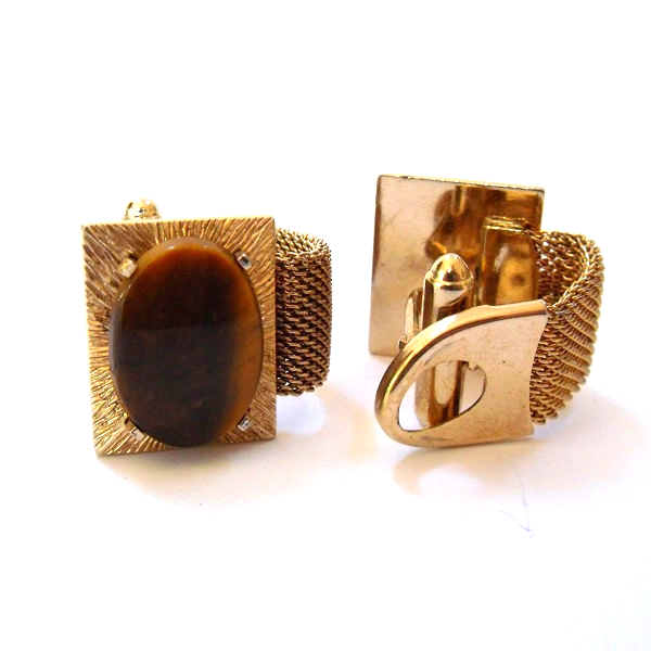 Vintage Anson Gold Tone Mesh Wrap Cuff Links With Oval Tiger Eye Gemstones