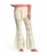Women's Cream Free People Ivory Dragonfly Crochet Flare Leg Pant sz M - $124.81