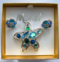 Vintage Monet Signed Jewelled Cabochon Starfish Nautical Brooch & Earrin... - $41.00