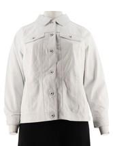 Denim & Co Agneau Cuir Long SLV Col Veste Jeans Blanc Doux XL Neuf A272640 - $168.07