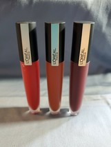 3 L'OREAL Rouge Signature Lasting Matte Liquid Lip Color Represent, Enjoy, Amaze - $11.45