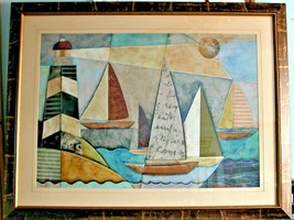 '' Bay Regatta '' by Jennifer Bonaventura '' ~ Lighthouse & Sailboats  A... - $46.51