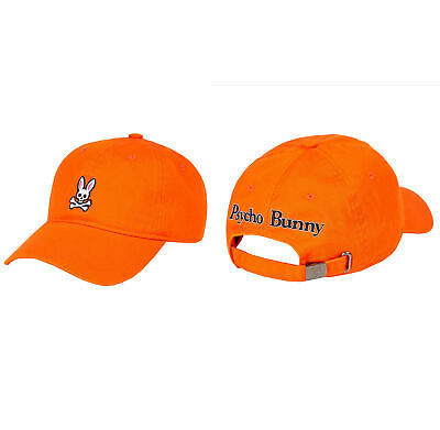 Psycho Bunny Men's Cotton Embroidered Fiesta Orange Baseball Cap Strapback Hat