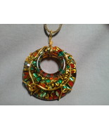 Murano Glass Wire Wrapped Pendant with 18 in Gold Tn Popcorn Link Chain - $24.99
