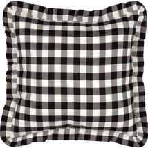 Annie Buffalo Check - Black & Antique White - Ruffled Fabric Pillow - VH... - $450,08 MXN