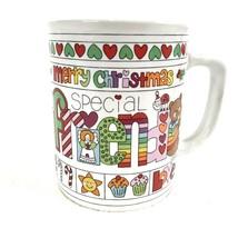 1983 Merry Christmas Friends Mug Loven Stuff Enesco Bears Hearts Mice Vi... - $14.60