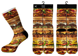 Odd Sox Cheese Burger Stack Fast Food Sublimated Crew Socks 6-13 NWT
