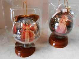 """2 BARBIE DOLL 4"""" DECOUPAGE ORNAMENT1997 INCLUDES WOODEN ORNAMENT STAND - $29.70"""