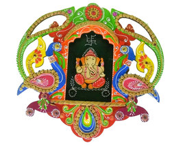 Handmade Hand painted Wooden Wall Hanging Lord Ganesha Medium - $38.99