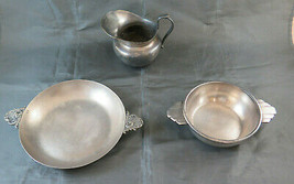 Two Bowls And A Creamer Vintage Art Deco Art Nouveau Nickel Silverplate BM29 - $99.21