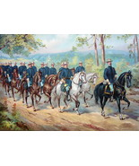 US ARMY in 1899 Marching Cavalry Black White Brown Horses - COLOR Litho ... - $13.49