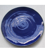 Hand Thrown Cobalt Blue Color Ceramic Pottery Large Dinner Plate Made In... - $39.99