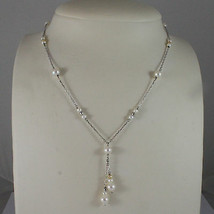 SOLID 18K WHITE GOLD NECKLACE WITH FRESHWATER WHITE PEARL AND GOLDEN BALLS  image 1