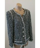 CHANEL Black and White Tweed Jacket with White Buttons & Floral Edging - 46 - $1,899.99