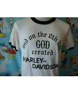 Vintage 80's On The 8th Day GOD Created Harley Davidson T Shirt M  - $247.49