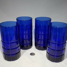 "Set of 4 Anchor Hocking Cobalt Blue Tartan 6 1/8"" Tall Water Tumblers Gl... - $32.95"