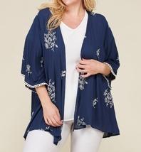 Plus Size Embroidered Kimono, Plus Size Lightweight Cardigans, Womens, Navy