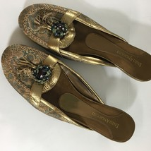 Enzo Angiolini Womens Shoes Low Heels Rhinestones 7.5 M Tapestry Gold Ornate - $18.81