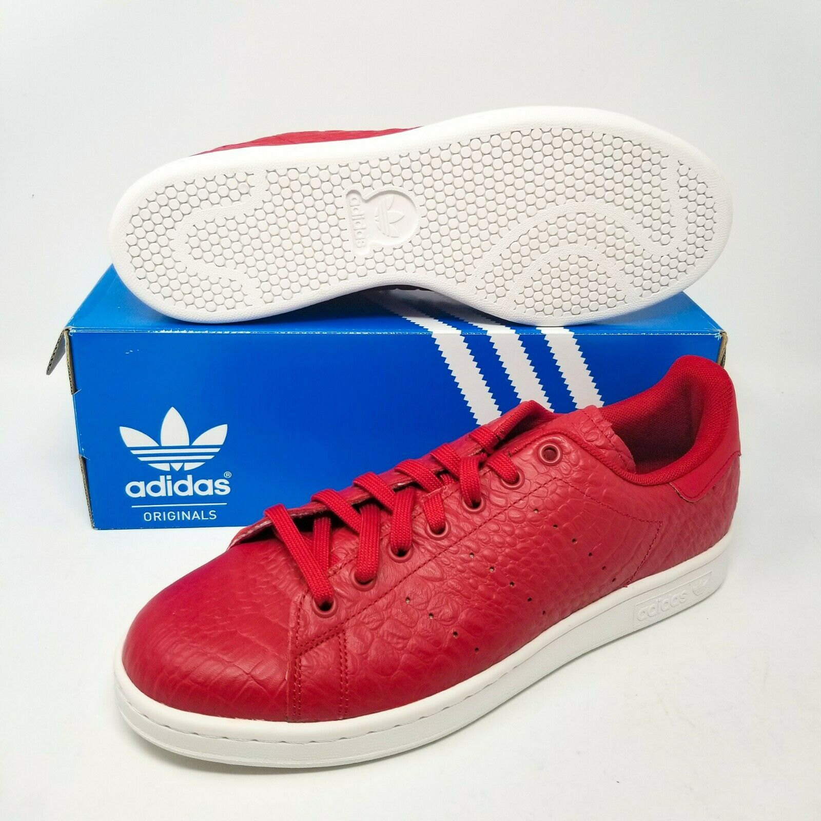 Primary image for adidas Stan Smith Power Red Snakeskin White Tennis Shoes AQ2729  sz 10 UK 9.5