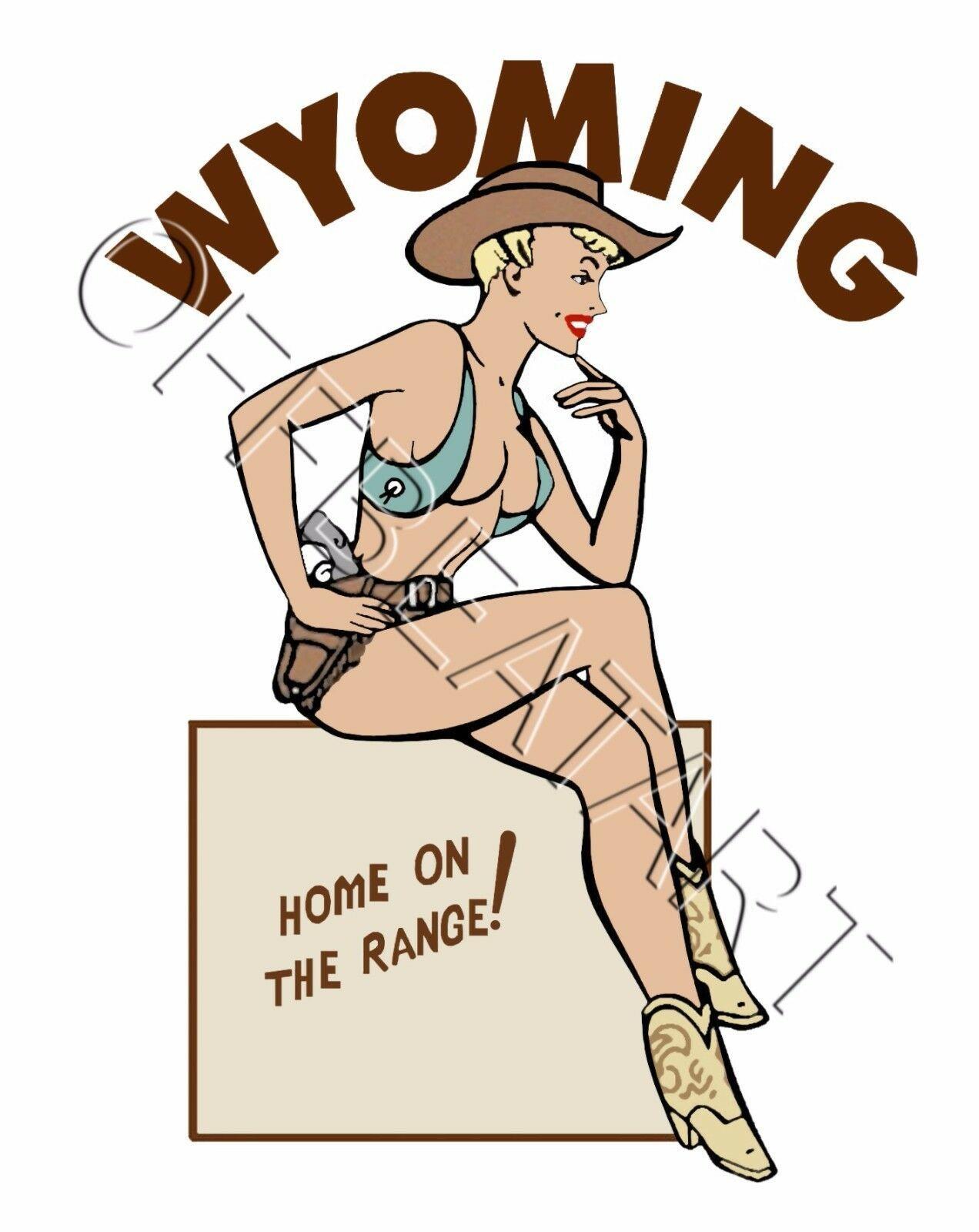 Travel Humor Hot Rat Rod Vinyl Decal Wyoming Pinup #58