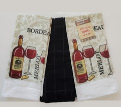 Kitchen Towels, Set of 3, Red Wine Bottle Merlot Bordeaux Design Black - $11.99